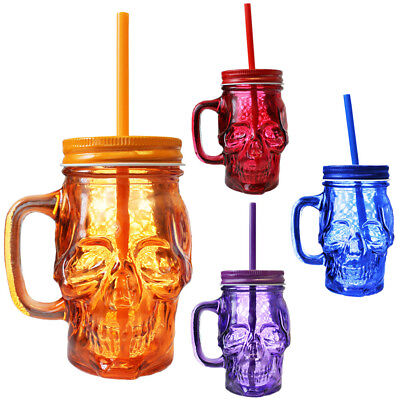 SKULL MASON JAR GLASS LOT DAY OF THE DEAD COLOURED PARTY GLASS HALLOWEEN 100 75