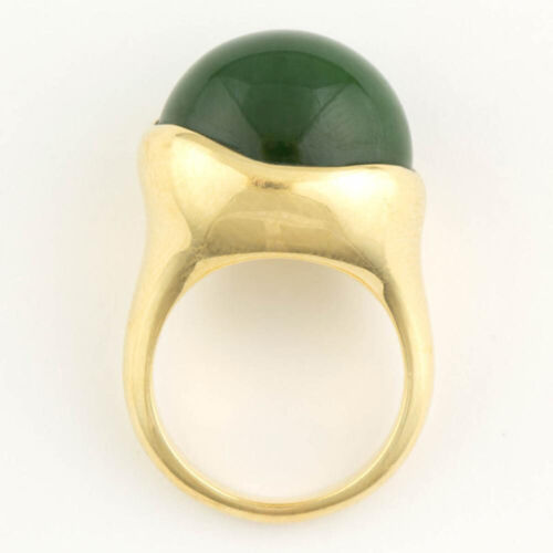 RARE SIZE 9 VINTAGE Tiffany & Co. Elsa Peretti Jade Cabochon 18K GOLD RING WOW!