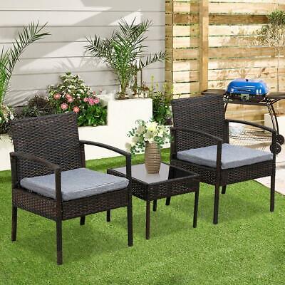 Garden Furniture - 3PCS Wicker Rattan Patio Furniture Set Sofa Cushion Coffee Table Garden Outdoor