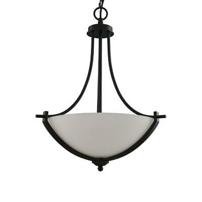 Hampton Bay 3-Light Bronze Pendant with White Frosted Glass Shade 16658