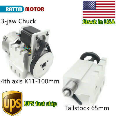 3 Jaw Chuck K11-100mm 4th Axis Cnc Dividing Headrotary Axis65mm Tailstockusa