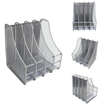 Desktop Organizer Mesh File Magazine Holder 4 Compartments Silver Black