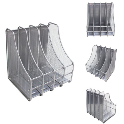Desktop Organizer Mesh File Magazine Holder, 4 Compartments, Silver & Black