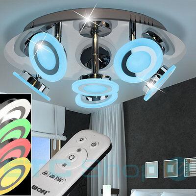 WOFI Designer RGB LED Chrom Decken Lampe Verstellbar Rund Leuchte Fernbedienung