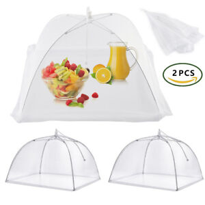 2x Large Collapsible Mesh FOOD COVER Dome Pop Up Plate Umbrella Fly Wasp Net