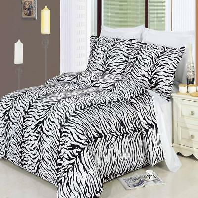 Modern Black and White Zebra 100% Cotton Duvet Cover With Pillow Shams (Black And White Bed Set)