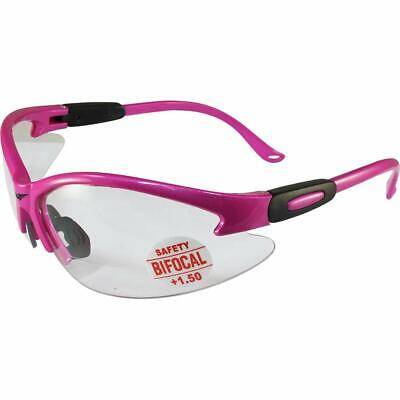 Cougar Reader Safety Glasses 1.5 Dioptre Bifocal Cheater Pink Ladies Ansi Clear