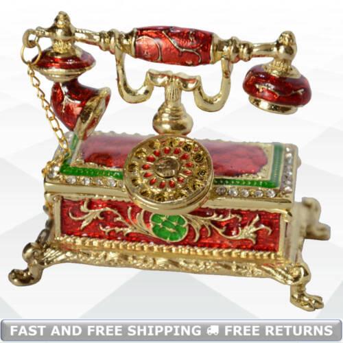 Antique Style Telephone Miniature Trinket Box Hinged Lid Enamel Jeweled Crystals
