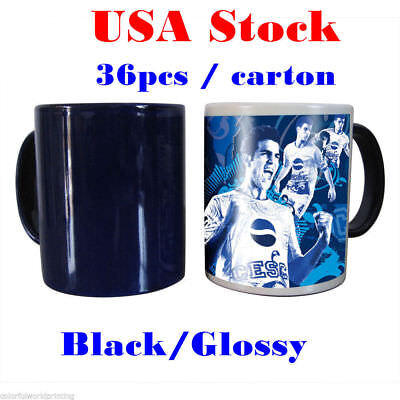 Usa 11oz Blank Sublimation Mug Magic Full Color Changing Cup Blackglossy