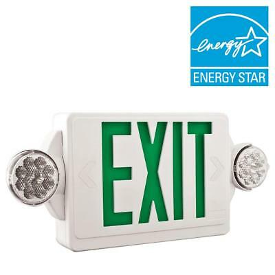 Lithonia Lhqm Led Exit Emergency Light Combo 2 Headed Unit W Battery Backup
