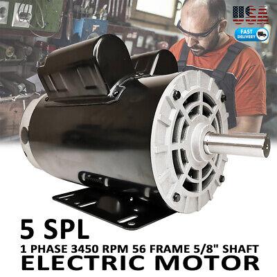 5hp Spl 3450 Rpm Compressor Duty Electric Motor208-230v58 Shaft 16.2 Amp