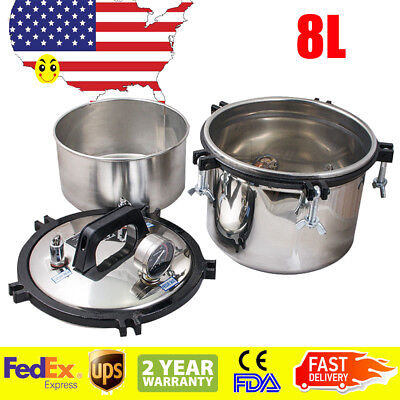 Usa 8l Pressure Steam Sterilizer Medical Dental Tattoo Autoclave Sterilization