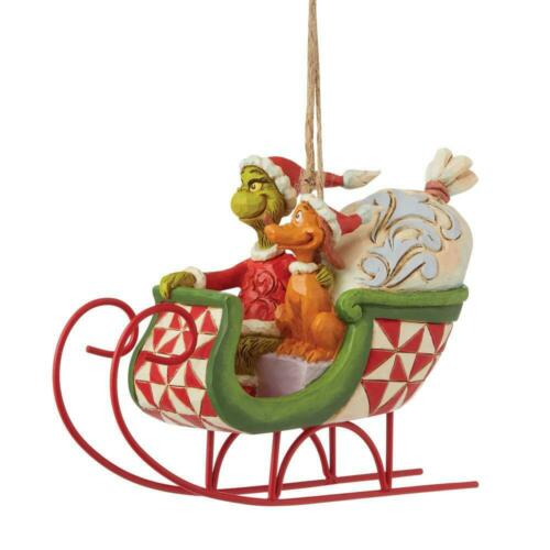 Jim Shore GRINCH AND MAX IN SLEIGH ORNAMENT 6008895 BRAND NEW 2021