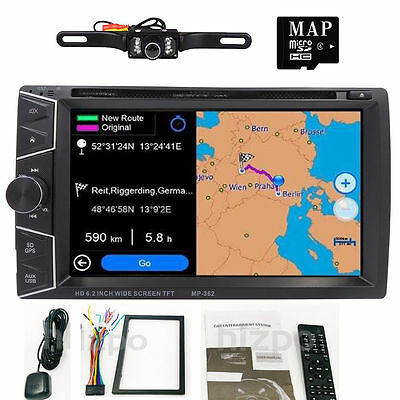"6.2"" HD 2 DIN GPS Navigation In Dash Car Stereo DVD Player Bluetooth with Camera"