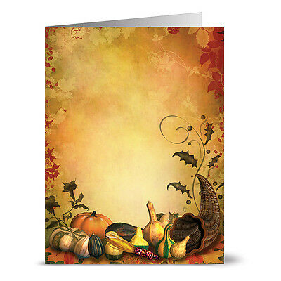24 Thanksgiving Note Cards - Bountiful Cornucopia - Kraft Envs