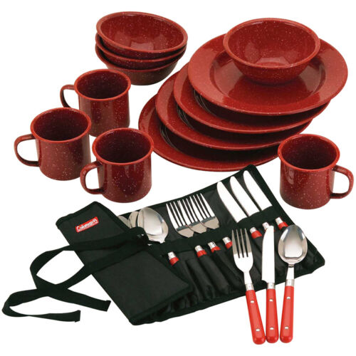 Coleman 24-Piece Speckled Enamelware Camping Outdoor Picnic Cookware Travel Set