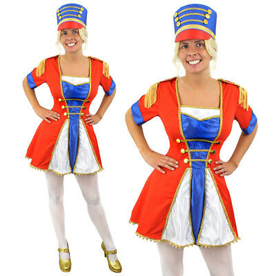 MAJORETTE TOY SOLDIER LADIES FANCY DRESS COSTUME & HAT NUTCRACKER CHRISTMAS XMAS - Womens Toy Soldier Costume