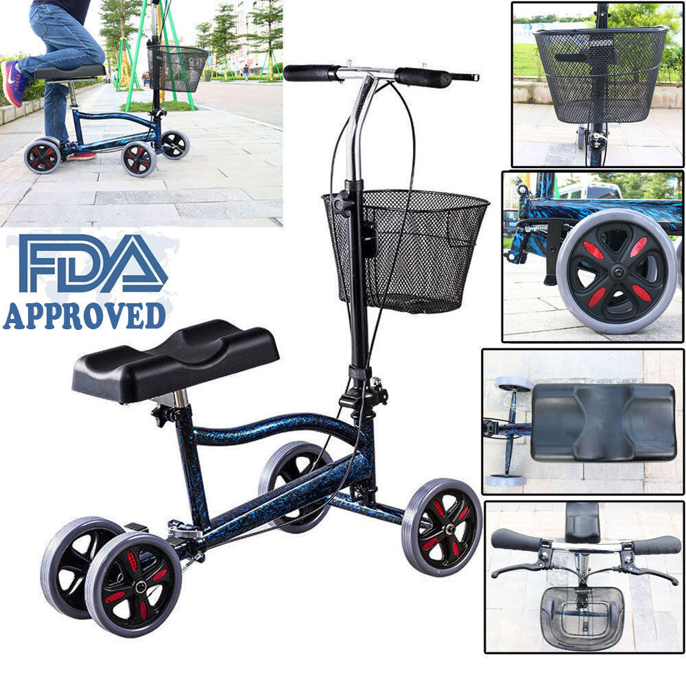 Foldable Steerable Medical Knee Walker Scooter Turning Brake