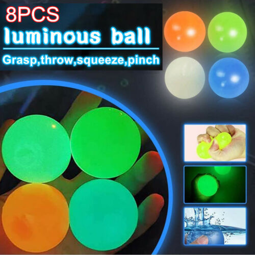 8PCS Sticky Balls for Ceiling Stress Relief Globbles Stress Kid Luminous Toy US Games