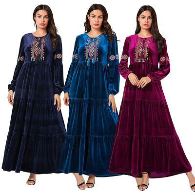 Velvet Abaya Muslim Women Embroidery Long Maxi Dress Islamic Robe Jilbab Arab