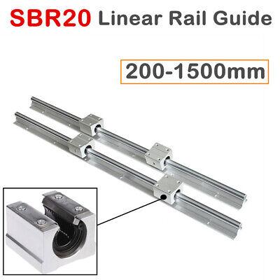 2x Sbr20 Linear Rail Slide Guide Shaft 200-2000mm With 4x Sbr20uu Block Bearing