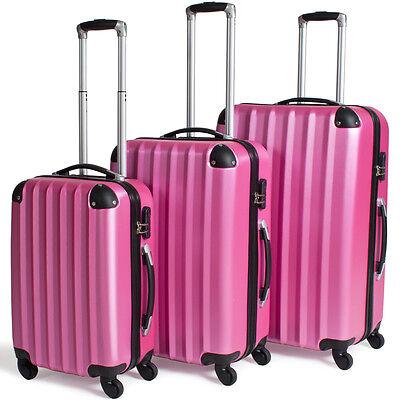3tlg Reisekoffer Set Trolley Hartschale Hartschalenkoffer Reisekofferset pink