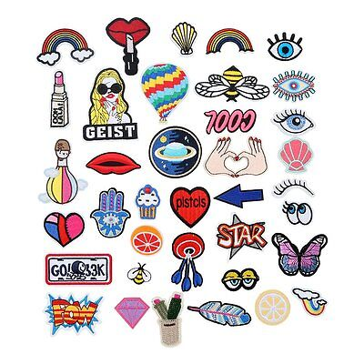 37Pcs/Set Multicolor Embroidery Applique Cloth DIY Sewing & Iron on Patch Badge