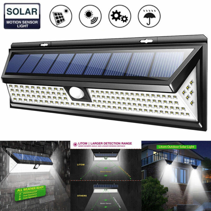 Details About 118 Led Solar Powered Pir Motion Sensor Wall Lamp Human Body Infrared Light New