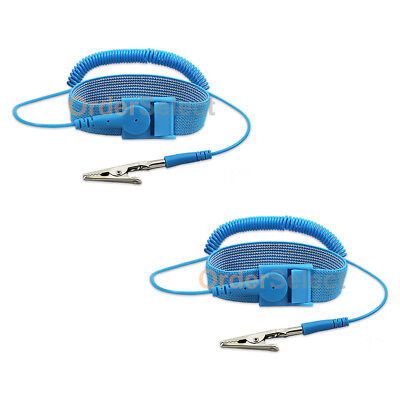 2 Anti-static Esd Adjustable Strap Antistatic Grounding Bracelet Wrist Band Blue