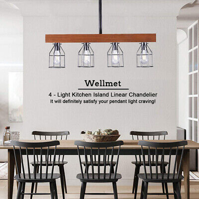 Farmhouse Chandelier Wood Beam Pendant Light Large Linear Island Ceiling Fixture Large Ceiling Fixture