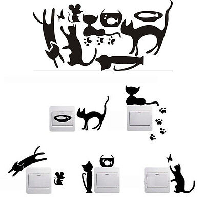 5pcs Removable Cute Lovely Cat Switch Wall Sticker Vinyl Decal Home Decor Black