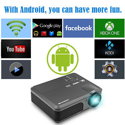 LED LCD Home Theater Projector Android Wifi HD Multimedia HDMI USB VGA TV 1080p