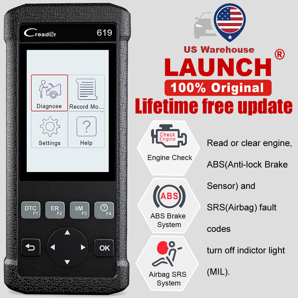 ABS SRS Airbag Read Launch CR619 OBD2 Car Diagnostic Tool Code Reader Scanner