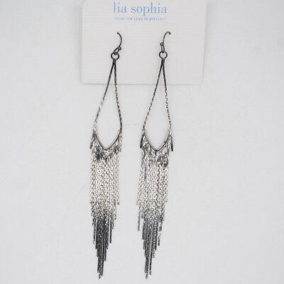lia sophia jewelry elegant black tassel long drop hoop dangle earrings for women - Elegant Black Tassel