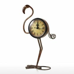Wrought Iron Clock Retro Desk Decor Flamingo Rustic Handmade Metal Home Figurine