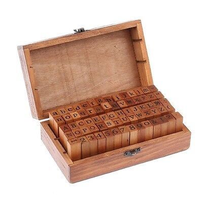 70pcs Alphabet Letter Number Wood Rubber Stamps Set Wooden Box Multi-purpose US