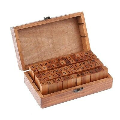 70pcs Alphabet Letter Number Wood Rubber Stamps Set Wooden Box Multi-purpose (Wooden Stamp Set)