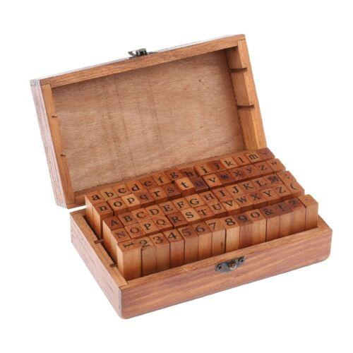 70pcs Alphabet Letter Number Wood Rubber Stamps Set Wooden B