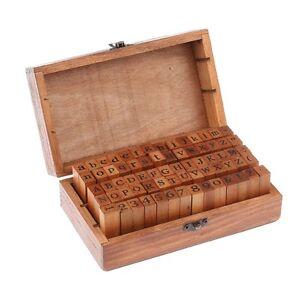 70pcs Alphabet Letter Number Wood Rubber Stamps Set Wooden Box Multi Purpose US