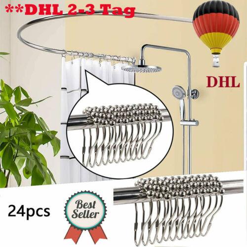 24x Duschvorhang Ringe Haken Badezimmer Stab Rod Aufhängeringe für Duschvorhang
