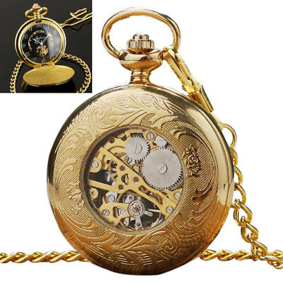 Mens Mechanical Watch Pocket Skeleton Black Gold Chain Retro Vintage Wind-Up Man Black Gold Pocket Watch