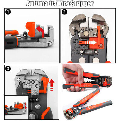 Automatic Electric Cable Wire Cutter Stripper Crimper Plier Terminal Tool Orange