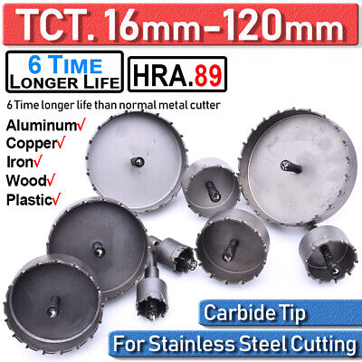 16-120mm Tct Carbide Hole Saw Metal Cutter Stainless Steel Hss Wood Alloy Tools