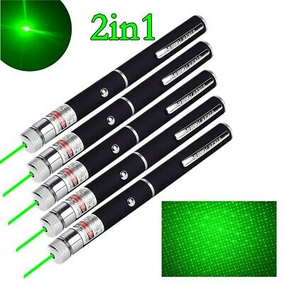 5pc 200miles Aaa Green Laser Pointer Pen 532nm Visible Lazer Torch Pet Cat Toy