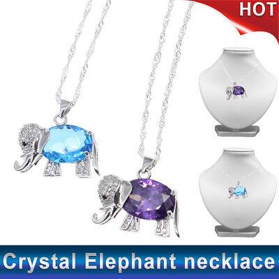Cute Silver Color Purple / Blue Crystal Elephant Pendant Necklace Birthday - Elephant Color