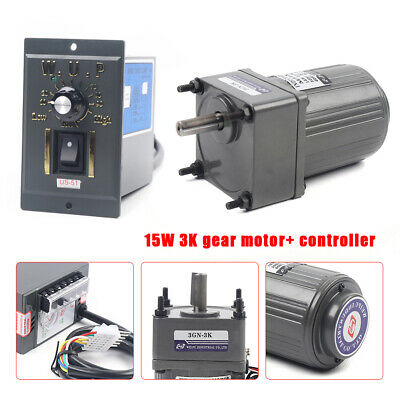 15w Ac110v Gear Motor Electric Motor Variable Speed Controller 13 450rpm 3k New