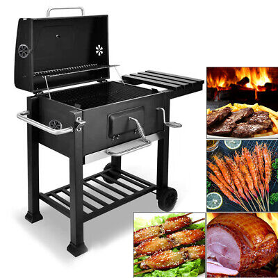 Outdoor Trolley BBQ Barbecue Cooking Food Anthracite Grill Wheels Charcoal UK
