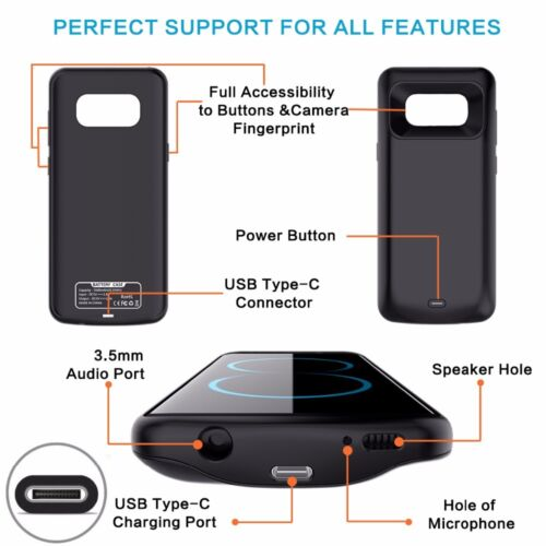 Details about For Samsung Galaxy S8 S9 Plus External Battery Backup Case  Charger Power Bank