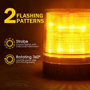 Rooftop LED Round Rotating Beacon  Emergency Flash Strobe Warning Light Amber