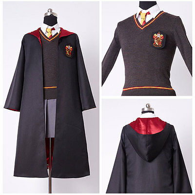 Kid& Adult Hermione Granger Cosplay Costume Gryffindor Uniform Wig Magic wand - Costume Hermione Granger